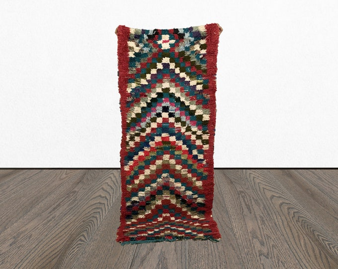 Colofrul vintage runner rug 3x7, Morrocan woven tribal long rugs, Moroccan BERBER wool Boho rug, Marocian Bohemian tapis