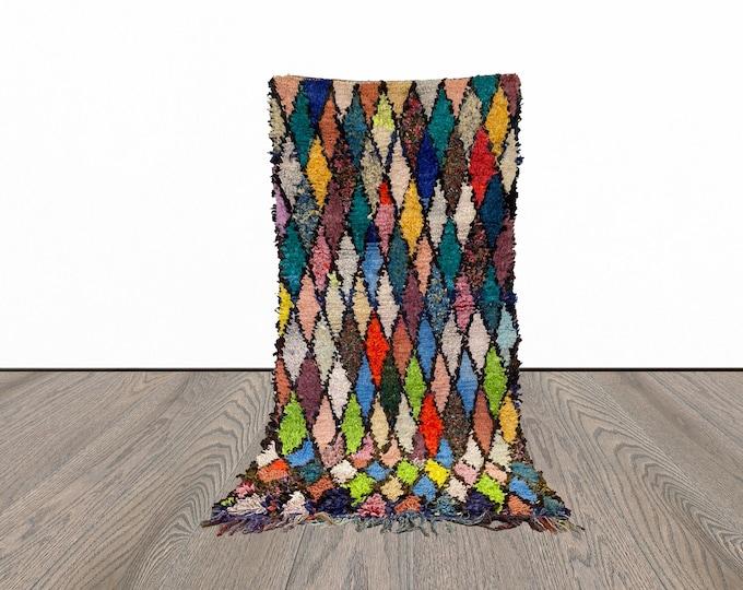 3x6 ft vintage Moroccan Boucherouite rug!
