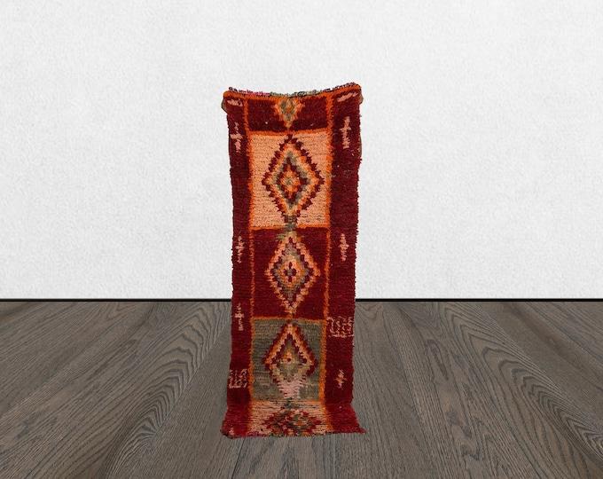 moroccan berber area rug, 2x7 vintage woven rug, colorful small area rug,  bohemian berber rug.