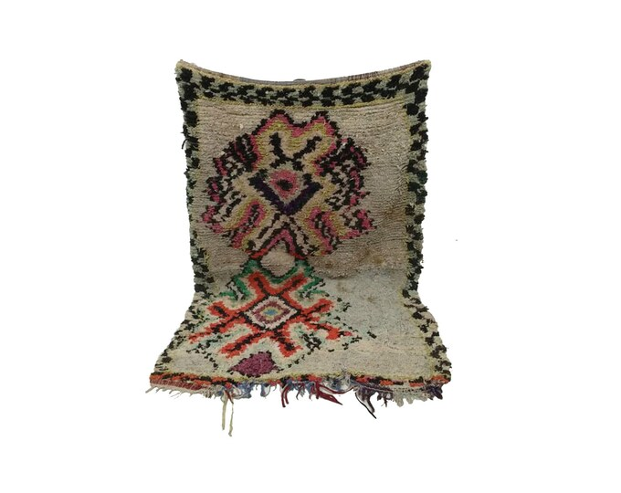 Boucherouite rug 3x6, Vintage Moroccan rug runner, Azilal Berber rug, Vintage Berber teppich Hand knotted, moroccan runner, beni ourain rug