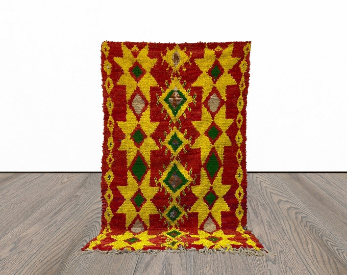 Boucherouite Moroccan colorful rug 4x7 ft!