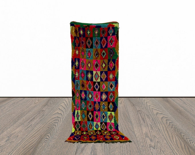 Colorful Moroccan runner rug 2x7 ft!