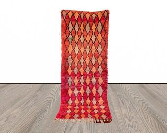 Vintage Moroccan wool runner rug 3x8 ft!