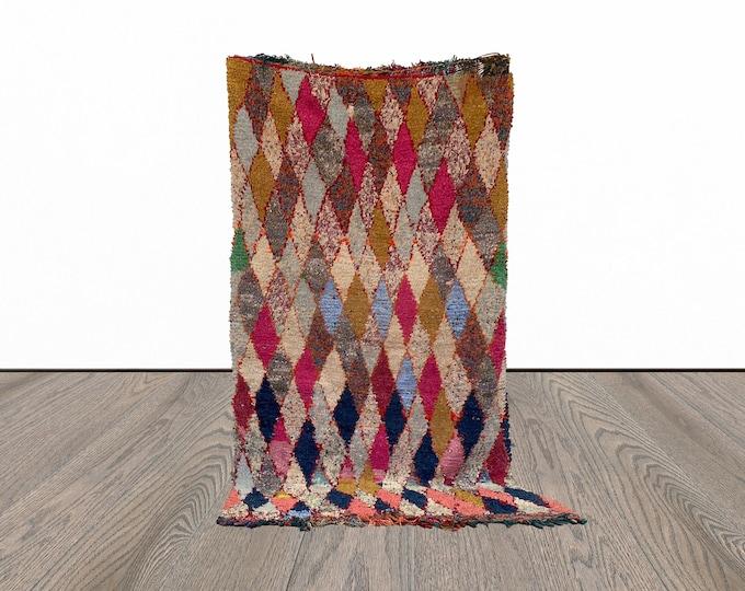 Boucherouite Moroccan vintage rug 4x7 ft!