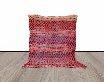 checkered Moroccan vintage rug 4x5 ft!