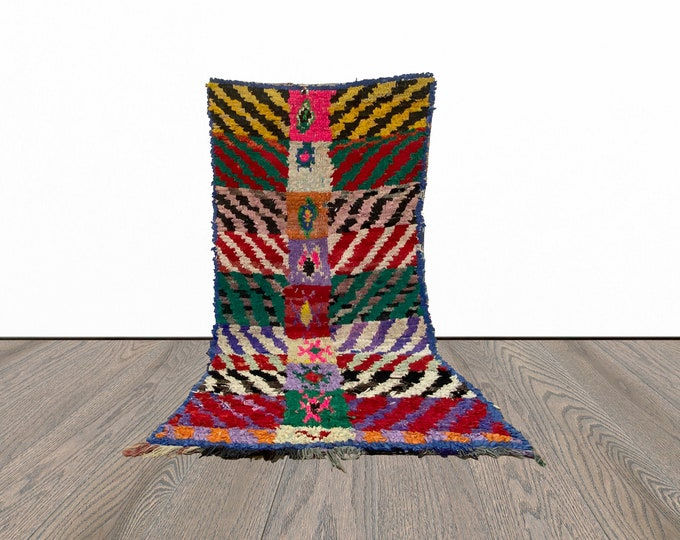 3x7 ft colorful Boucherouite Moroccan  rug!