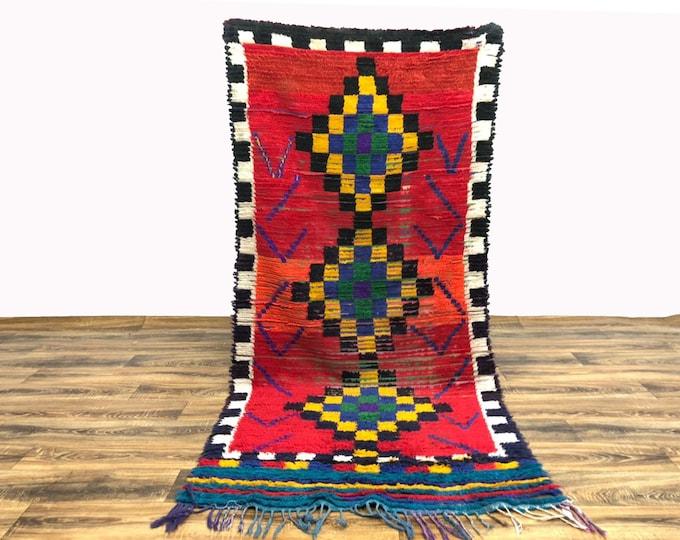 4x7 ft Colorful Moroccan Berber Vintage runner rug!