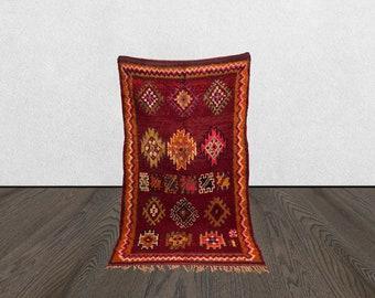 5 x 8 Berber vintage large red area rug, Morrocan Tribal Bohemian woven rugs 5x8, Moroccan boujaad Boho wool rug