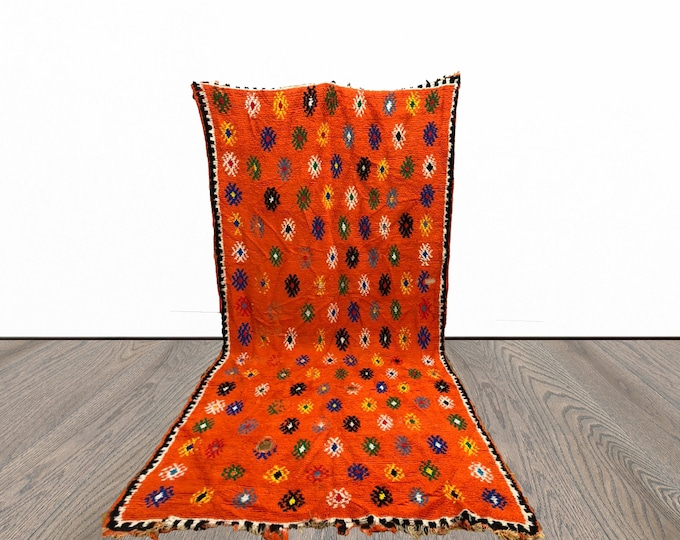 Orange Moroccan Berber Large area rug 5x10 ft!