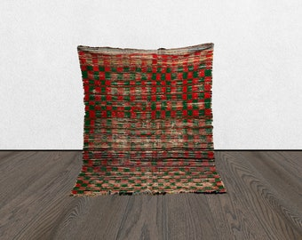 4 x 5 checkered vintage green red area rug, Morrocan Berber Tribal Bohemian checker bord woven rugs 4x5, Moroccan checkerboard Boho wool rug
