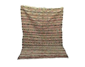 striped wool blanket 5x10 ft, morrocan Berber azilal boho woven blankets, Moroccan tribal old rug
