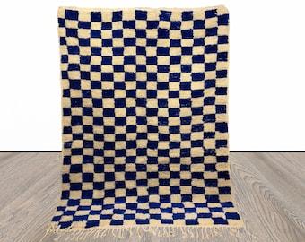 Handmade Moroccan Berber wool blue and white checkered rug!