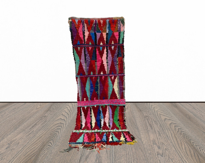 3x7 ft Boucherouite Moroccan colorful rug!