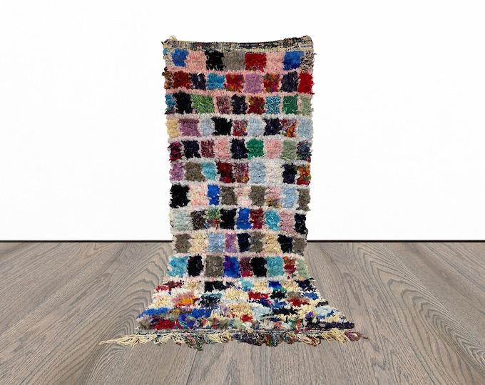 3x7 ft Berber Boucherouite Moroccan rug!