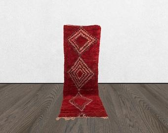 3x9 red runner rug, vintage runner rug, berber rug runner, moroccan vintage red runners, moroccan azilal runner.