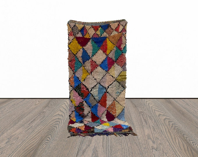 3x8 ft colorful Boucherouite Moroccan  rug!