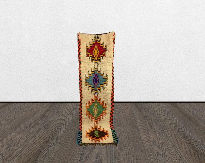 2x8 vintage white runner, moroccan runner rug, moroccan berber runner rug, colorful rug runner.