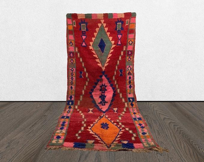 5x11 Moroccan rug, vintage berber red rug, Morrocan wool rug, Bohemian woven rug.