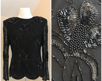 6a18d838ae6c12 Vintage 80s Sequin Top