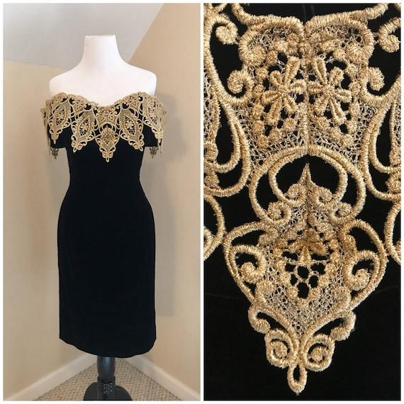 80s Off-Shoulder Dress | Little Black Dress | Vint