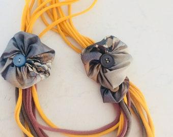 "Necklace ""Boho story"", upcycled, recycled, fabric necklace"