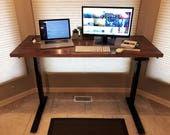 Sit Stand Desk with Handmade 5 Foot Solid Red Oak Top with Premium Electric Base (Standing Desk)