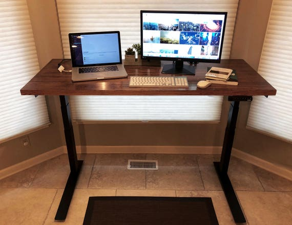 Sit Stand Desk With Handmade 5 Foot, Red Oak Desk