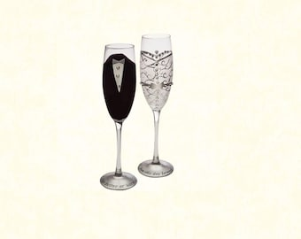 f1060f627226 Set of 2  Hand-Painted 8 oz. Bride and Groom Champagne Flutes