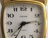 Vintage EUROPA 2 Jewels Germany Traveling Alarm Clock Working