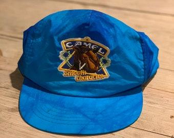 7fa8ddd0 1980s Vintage Camel Cigarette Beach Hat - Camel Smooth Character - VINTAGE  80s Snapback Camel Cigarette Hat