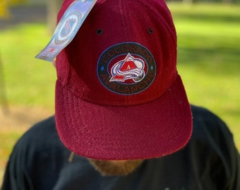 Vintage 90s Low Profile Colorado Avalanche Wool Cap With Leather Back Strap  - New Era EZ Fit 59 50 - New With Tags 33469d3a26f