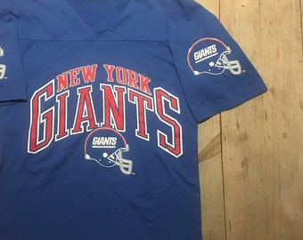 b5faf0a61e5fc2 New York Giants Vintage V Neck 1/2 Sleeve T Shirt - NFL VINTAGE - 1990s New  York Giants Full Logo + Sleeve Logos NY Giants