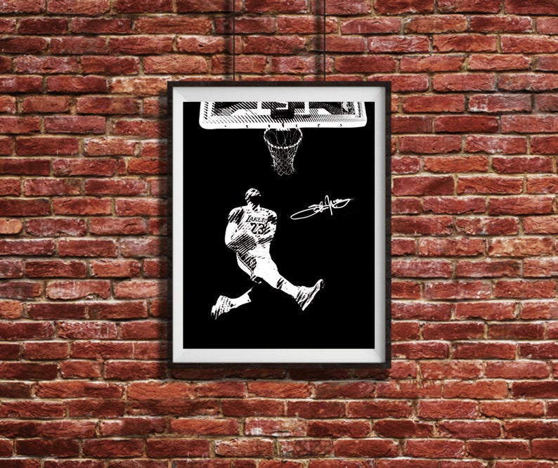 Lebron James Kobe Tribute Dunk Poster Autographed Dunk Print Etsy