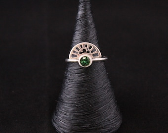 """Ring """"Inspired Art Deco"""" in silver and Tourmaline handmade"""