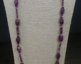 """MarcyTreasure 36"""" Purple Agate and Sterling Silver Beaded Long Necklace"""