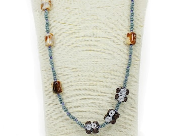 MarcyTreasure Handmade Stone Necklace with Wrapped Wire Acrylic and Gemstone Beads