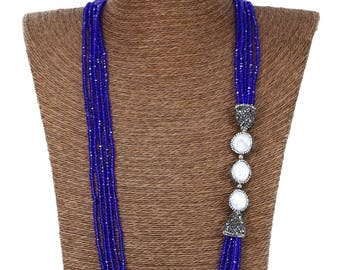 MarcyTreasure Handmade Multi-Srand Crystal Necklace with Fresh Water Pearl and Pave End Caps