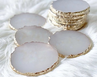 Gold Blank Agate Look Coasters | Slices