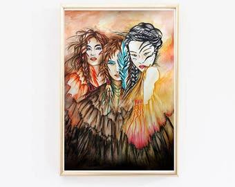 Art Print Indian children - Home Decor - Amazon Epuria - Digital painting - watercolor charcoal paint marker