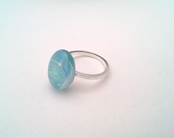 aqua blue and dichroic glass ring set on sterling silver