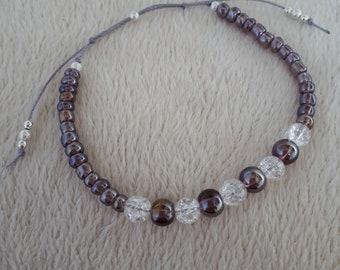 Purple & clear beaded bracelet