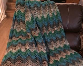 Hand knit throw blanket