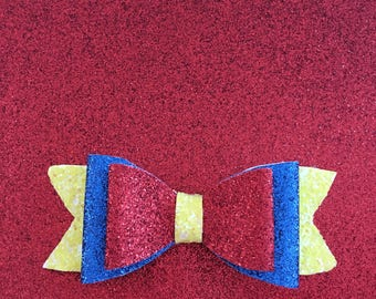 Snow White inspired glitter bow with clip