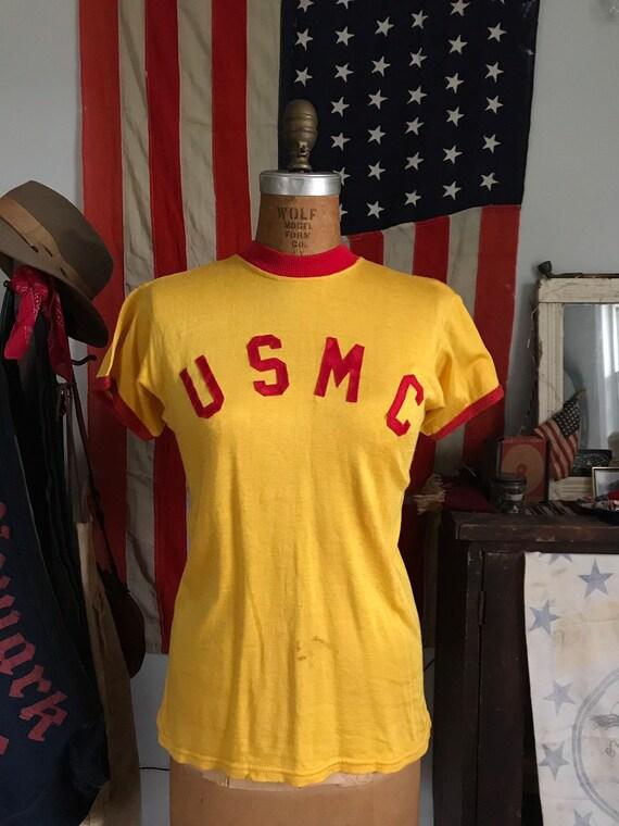 1950s 50s Korean War era USMC durene ringer tee