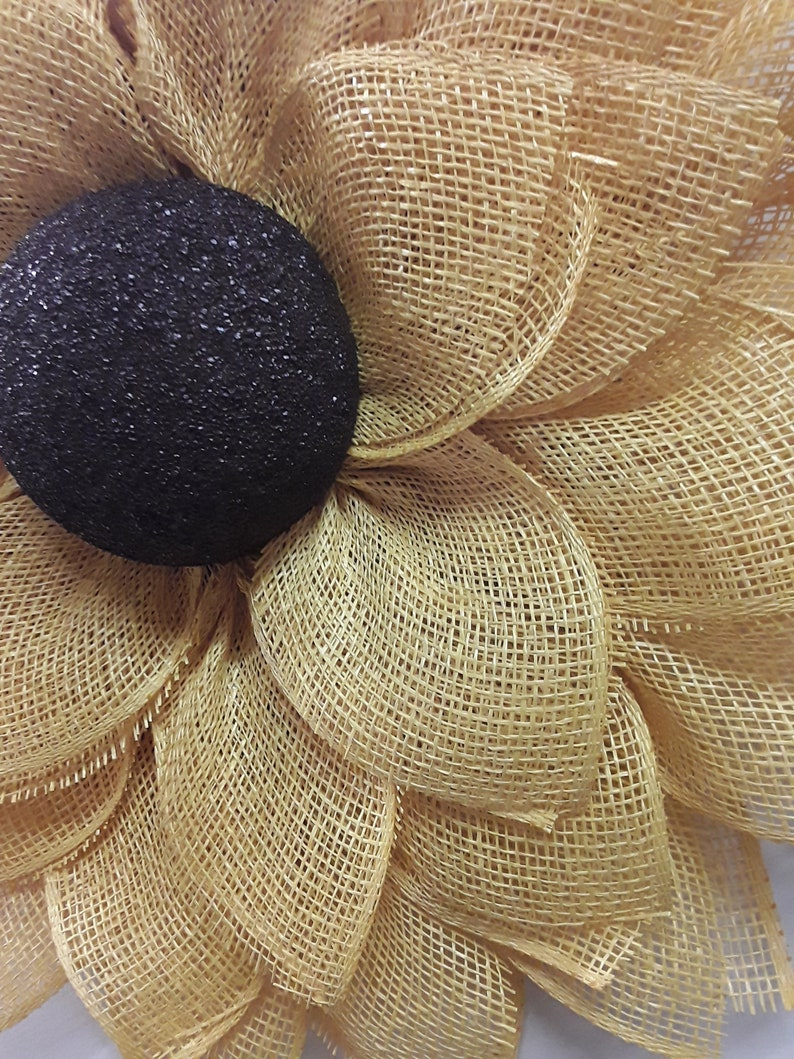 yellow poly burlap. summer time sunflower