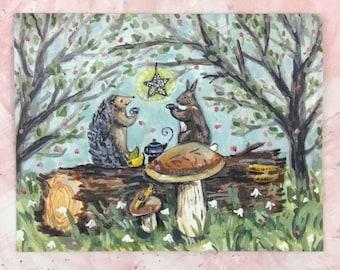 Tea on a Log   Greeting Card