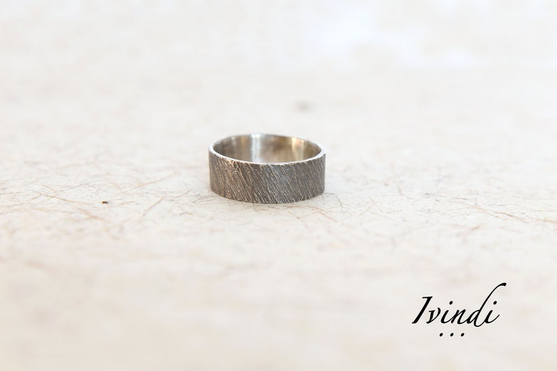 Unique Mens Ring Gift For Him Mens Textured Ring Silver Wedding Band