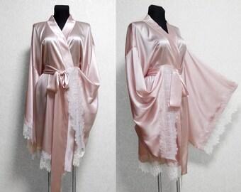 e8d51f2c9f Silk Robe  Kimono robe  Silk kimono robe  Short robe  bridal gown  Pure Silk  kimono  Honeymoon lingerie  Gift for bride plus size bride robe