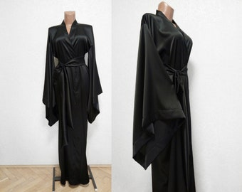Silk Robe, many colors, black silk kimono long, Women's Long Robe, Luxury pure silk kimonos , Satin Robe