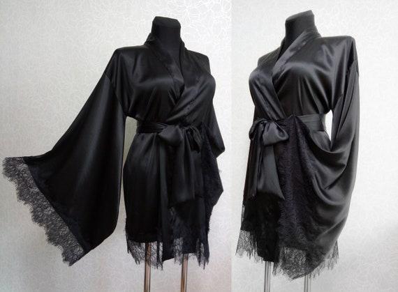 Silk Robe Kimono robe Silk kimono robe Black silk kimono Short  366b6d71e